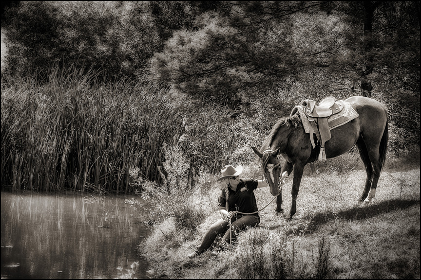 Andy & horses 014 B&W