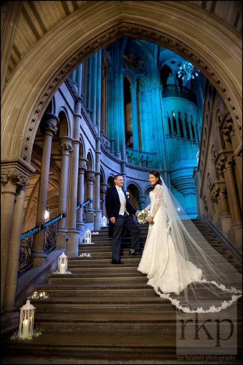 Bride and Groom going up main staircase, Manchester Town Hall