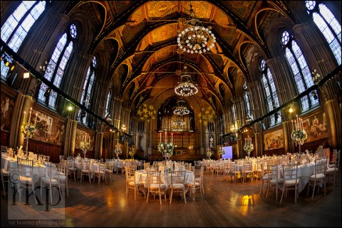 The Great Hall in Manchester Town Hall set for a wedding breakfast
