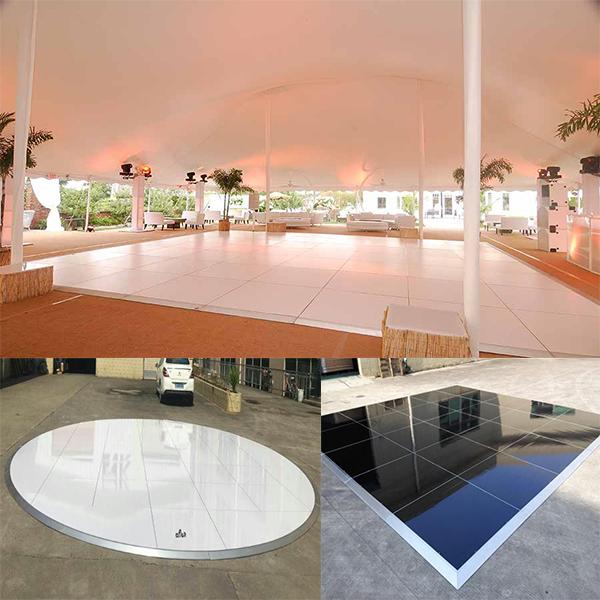 white, black ,round dance floor