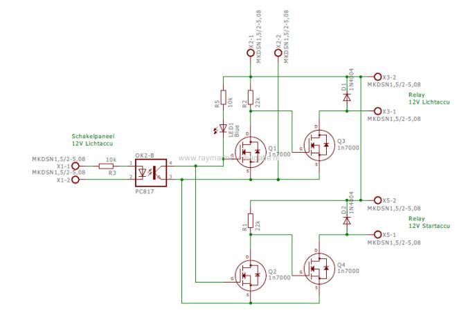 Acculader schakeling schema met opamp PC817 en inverterende dubbele FET 1N7000