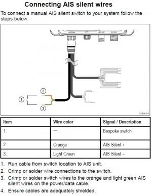 Raymarine AIS650 transponder E32158 schema schakelaar silent mode