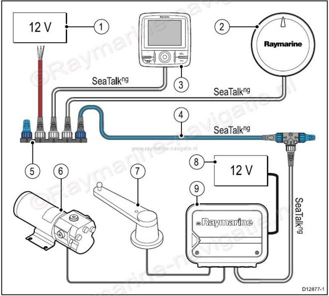 Raymarine Evolution autopilot EV-200 PowerPack met p70R ACU200 EV1 T1 Pomp netwerk schema T70157