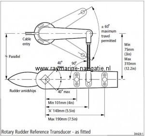 Raymarine roerstand gever M81105 monteren op roer