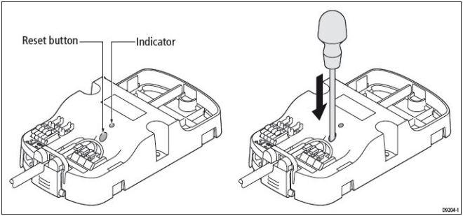 Raymarine wireless als repeater aansluiten Reset A18106
