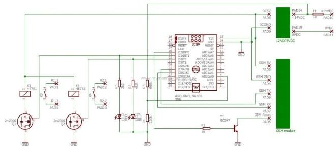 Schema met componten arduino en SMS module