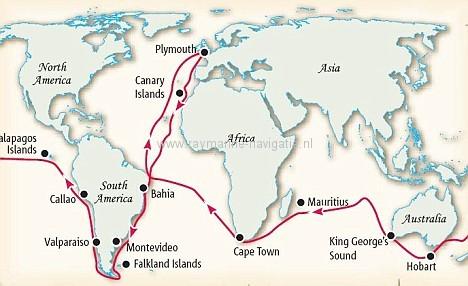 VPRO Beagle vaarroute darwin