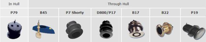 Raymarine diepte transducer overzicht voor ST60+ plus instrumenten