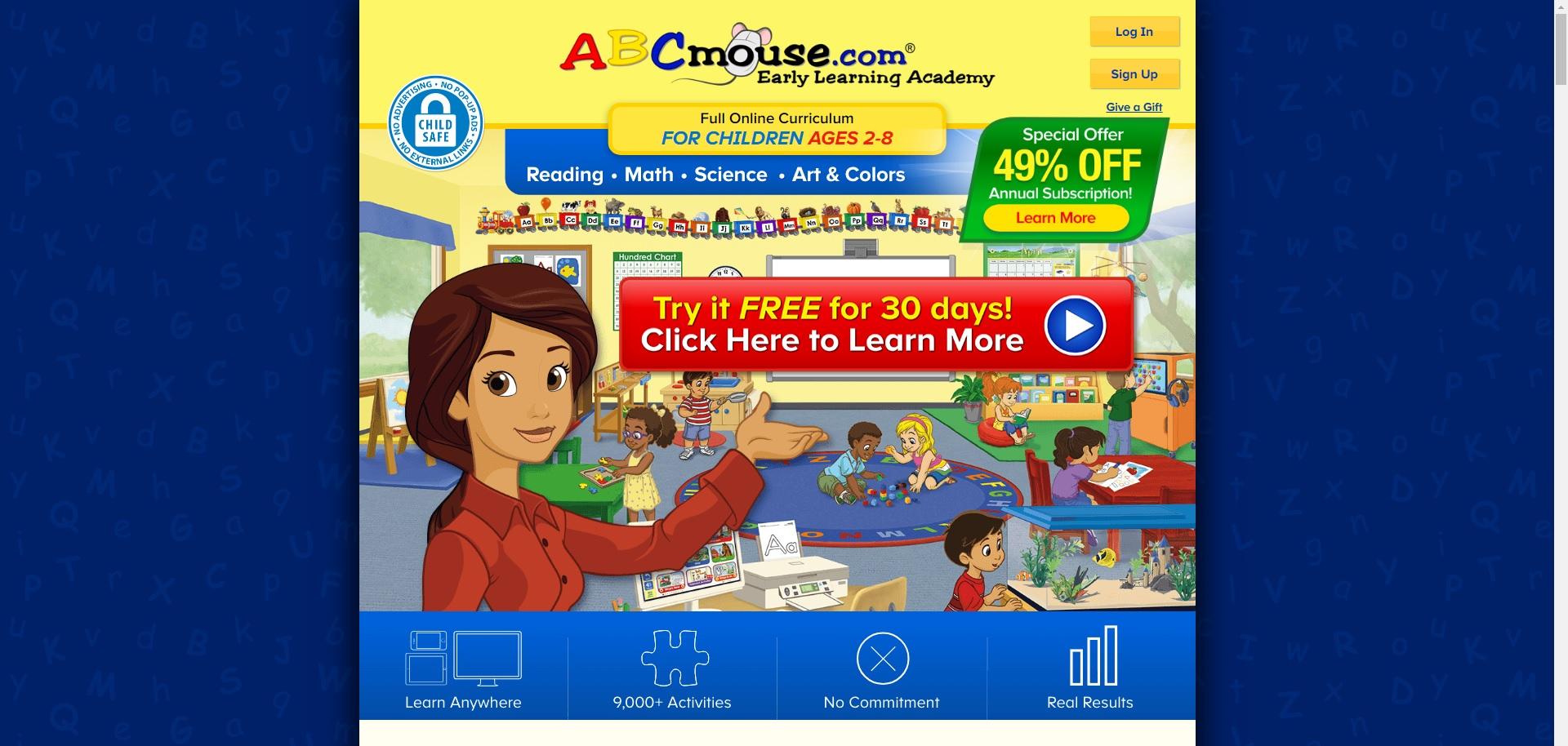 screenshot of abcmouse.com