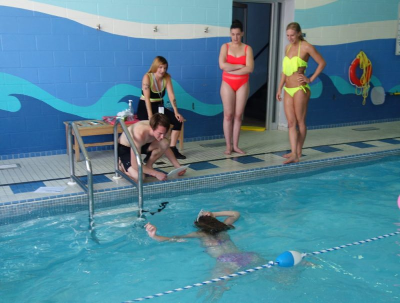 Doing Saltwater Selfie swim media at Mayfair Clubs Lakeshore swimming pool in Toronto