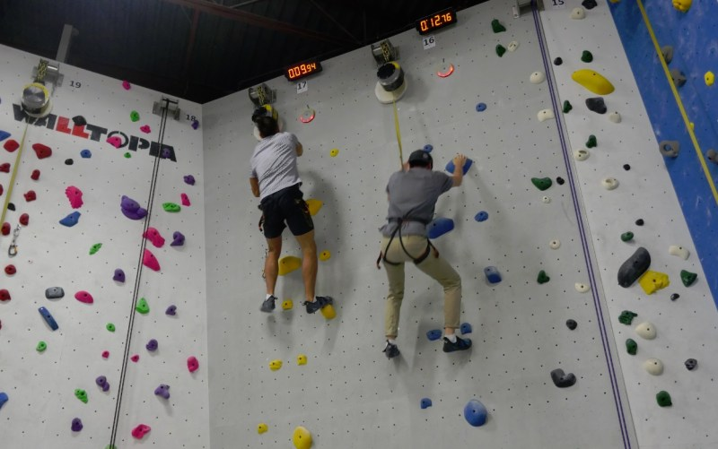 Mart and Joel on the speed wall at Hub Climbing