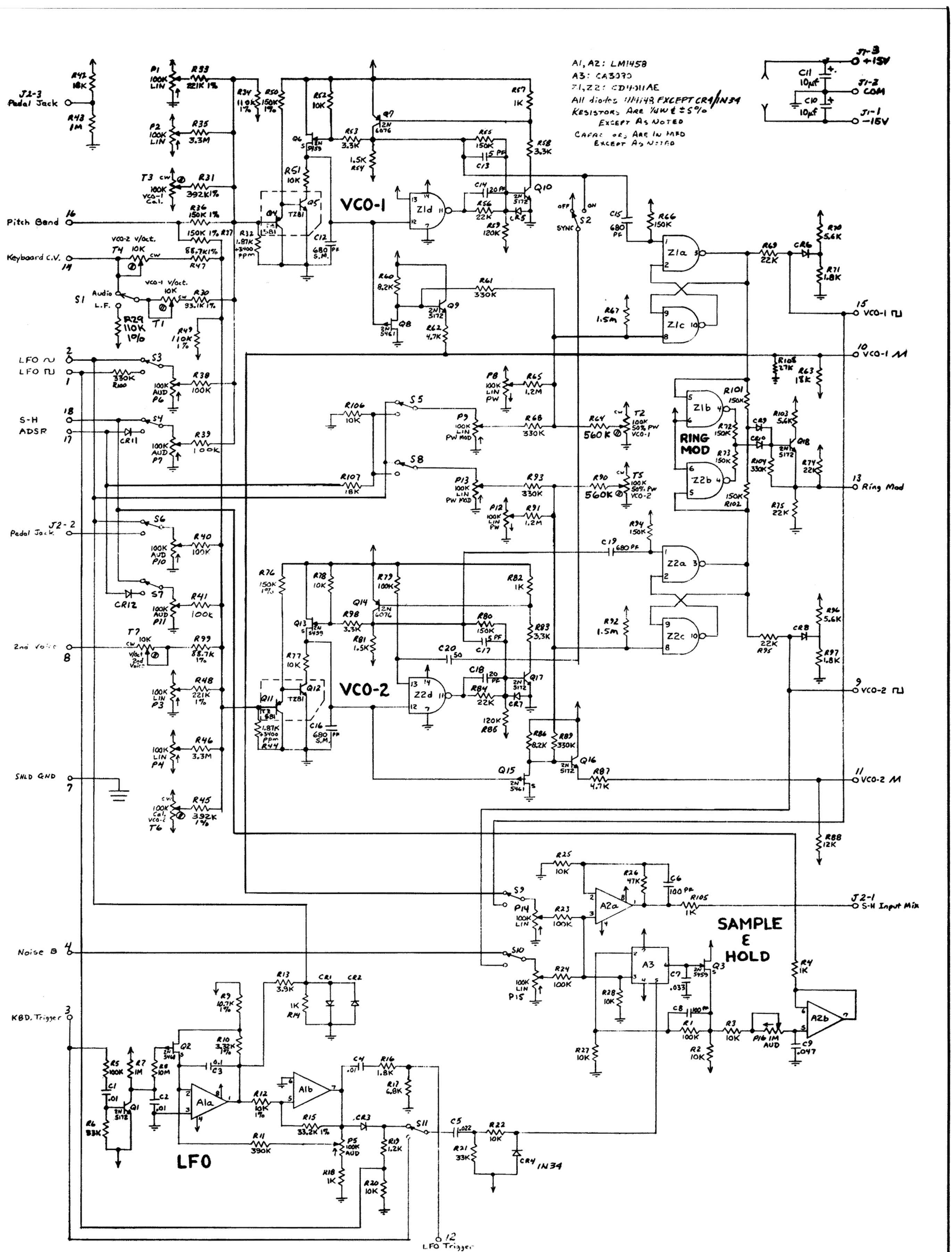 Arp Odyssey2 Model Schematic Board A Ll