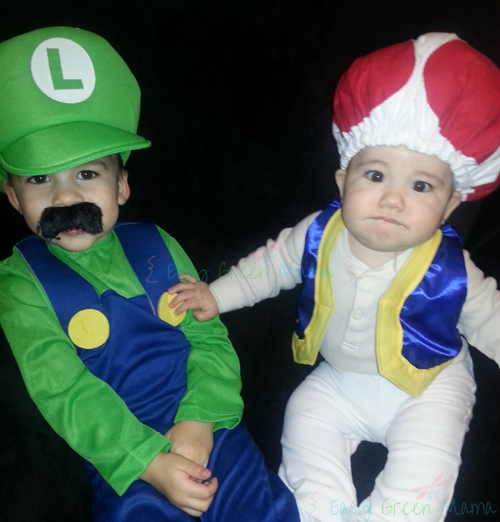 Mario Brothers with DIY Toad Costume