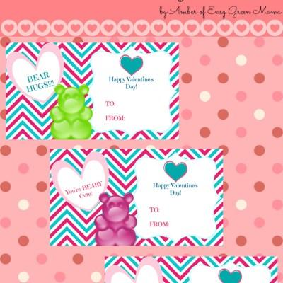 Free Printable Gummy Bear Valentine's Day Cards