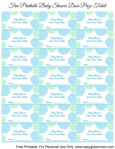 Blue and Green Baby Shower Door Prize Tickets ~ Free Printable