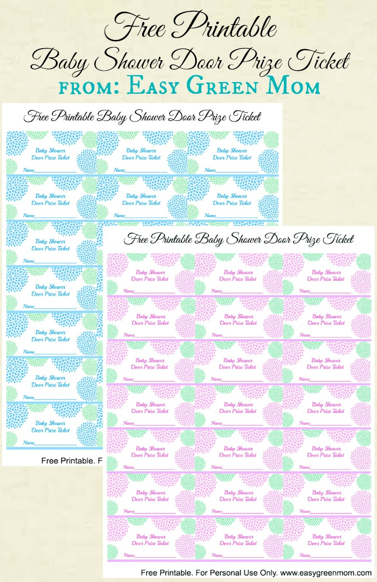 free printable baby shower door prize tickets for boy or girl rays