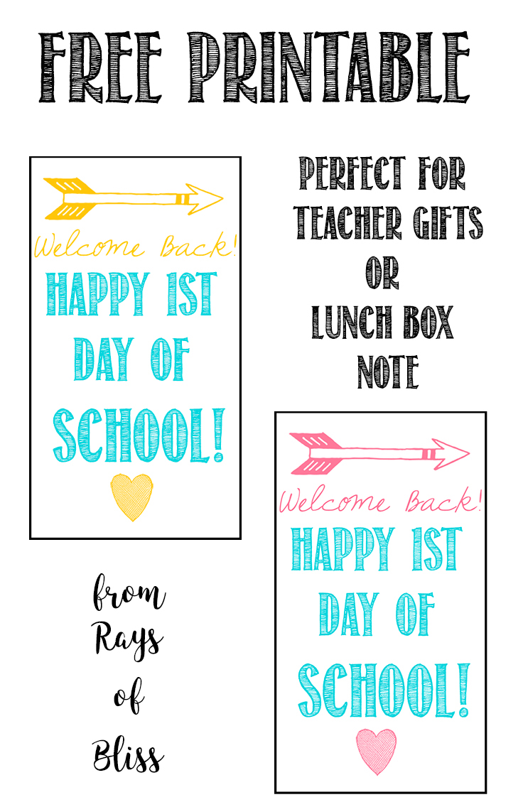 Welcome Back First Day Of School Gift Tag Free Printable
