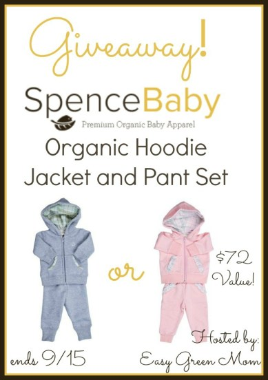 SpenceBaby Organic Hoodie Jacket and Pant Set Giveaway