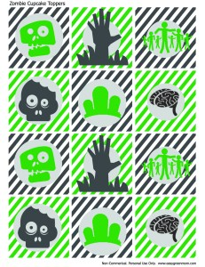 Zombie Cupcake Toppers Free Printable from rays of bliss.