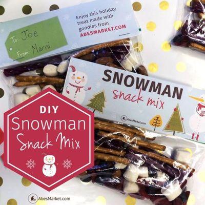 DIY Gift: Vegan Snowman Snacks + Printable from Abe's Market