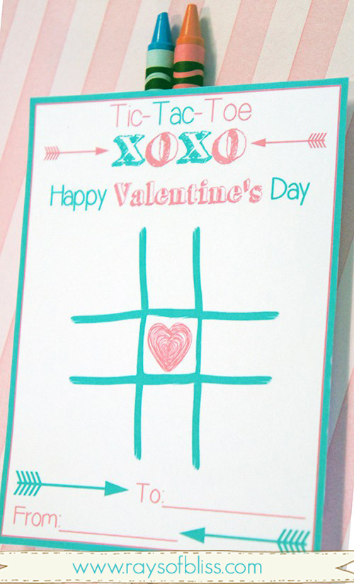 image regarding Tic Tac Toe Valentine Printable called Tic Tac Toe Valentines Working day Card Free of charge Printable with Crayons