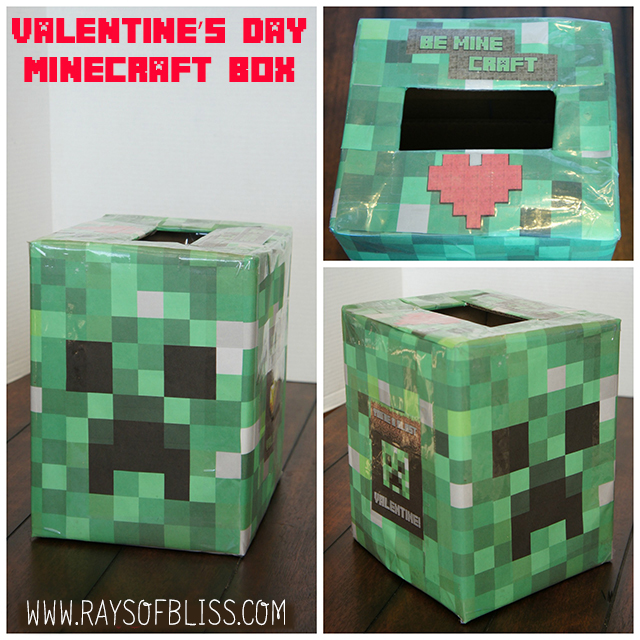 This Year My Son Wanted A Minecraft Creeper Valentineu0027s Day Box For His  Class Party. I Did Not Want To Paint Or Cut Out Hundreds Of Different  Colored ...