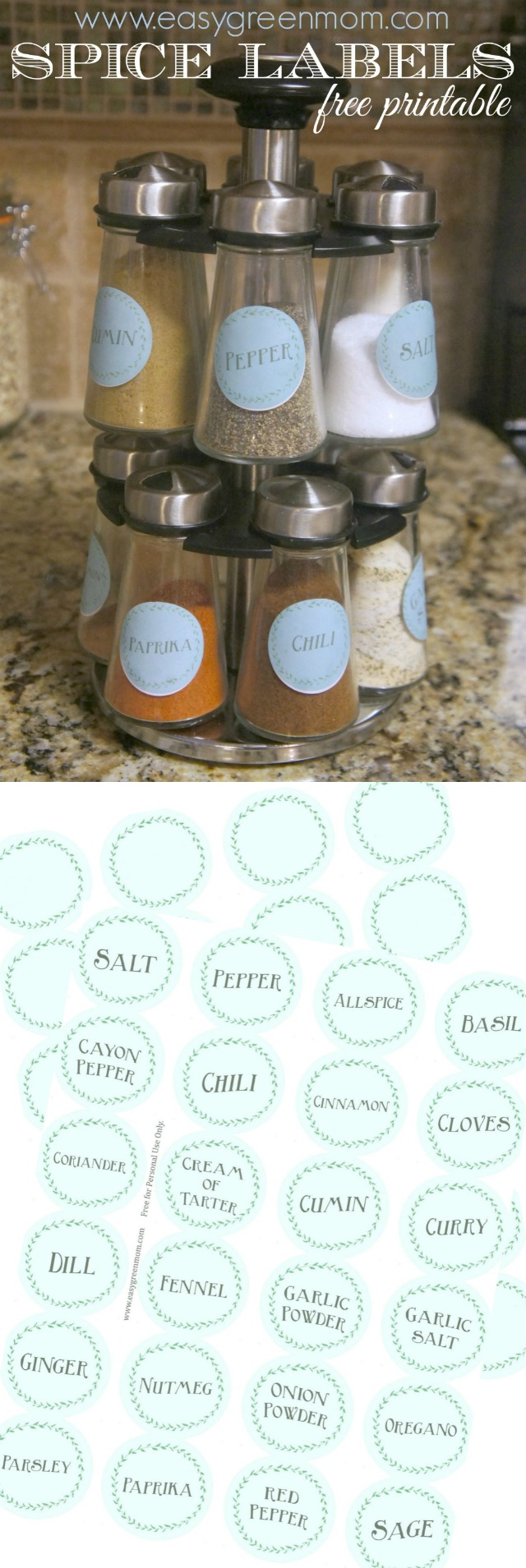 Spice Labels free printable from rays of bliss