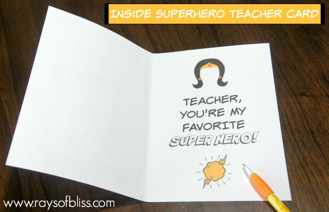Superhero Teacher Card Free Printable inside message