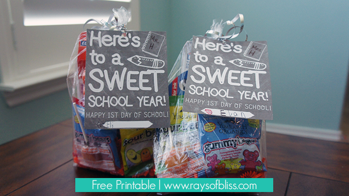 First Day of School Teacher Gift Free Printable ~ Here's to a SWEET School Year from Rays of Bliss