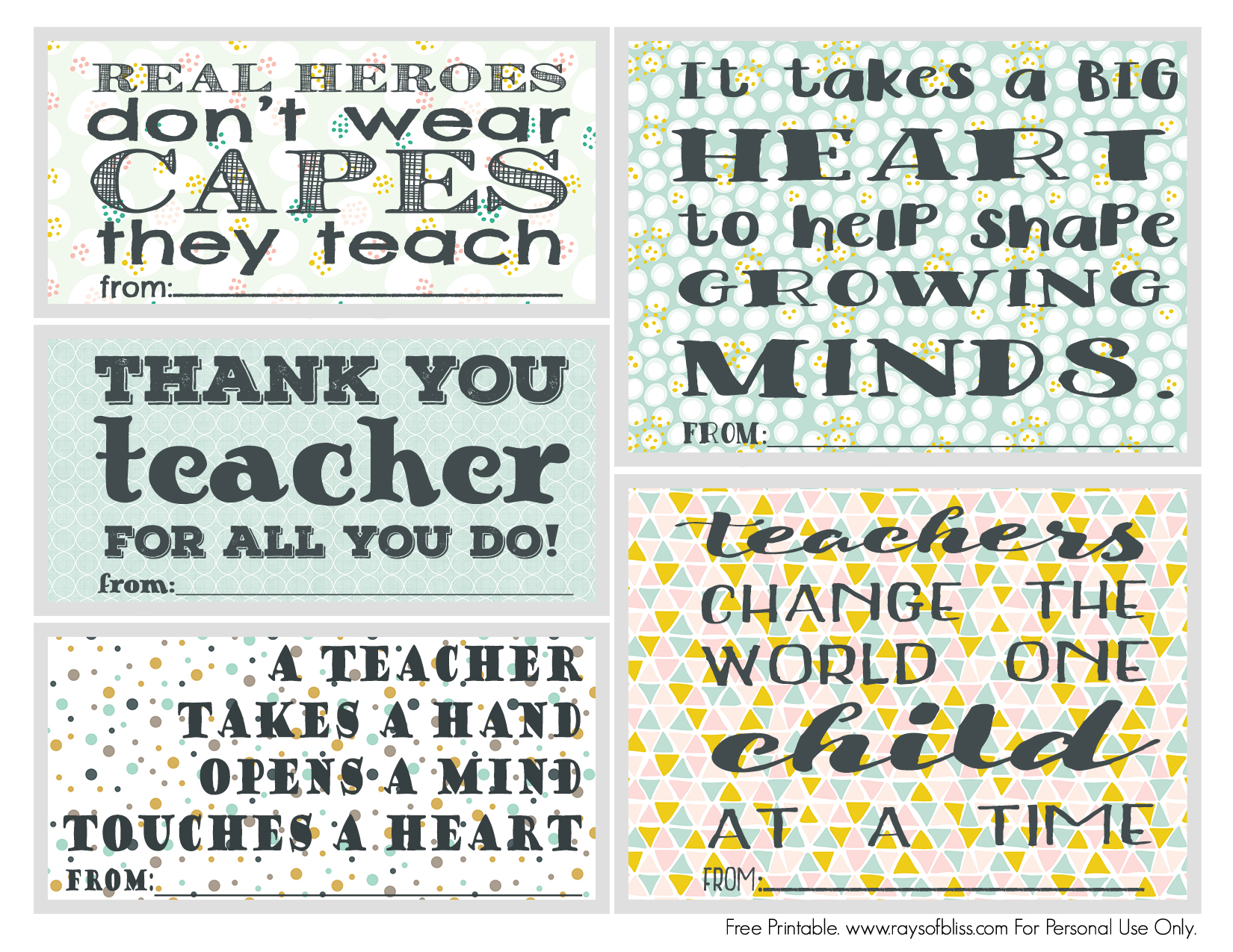 photo about Free Printable Teacher Appreciation Quotes known as Trainer Appreciation Notes Absolutely free Printable Established of 5 - Rays of