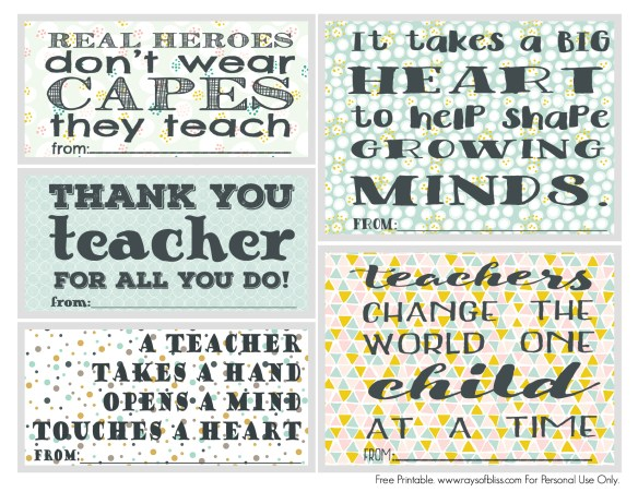 Teacher Appreciation Notes Free Printable Set of 5 - Rays of ...
