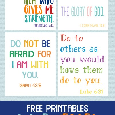 Kids Bible Verses Free Printables – Set of 4