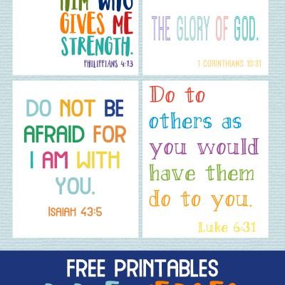 Kids Bible Verses Free Printables – Set of 4