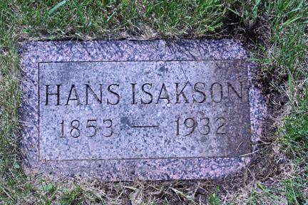 Hans Isakson Grave Marker