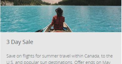 Air Canada: 3-Day Sale (Book by May 18)