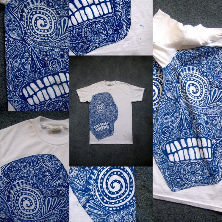 Razblint - Drawn Shirt - Day of the Dead Skull Blue on White