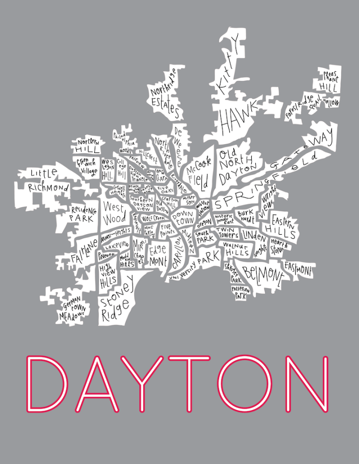 Dayton on dark grey with red letters - by Margaret Hagan