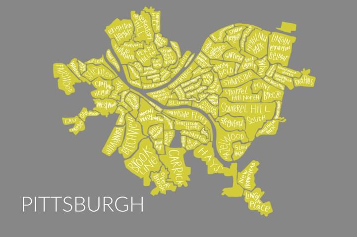 Margaret Hagan - Pittsburgh map - yellow on gray - Razblint