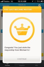 A Mayor's badge on Foursquare