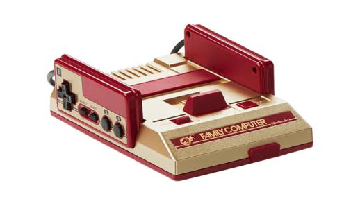 ゴールドカラーが特徴の「ファミコンミニ ジャンプバージョン」本体