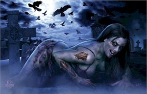 fantasy-tom-wood-zombie-girl-cemetary-poster-TR6208