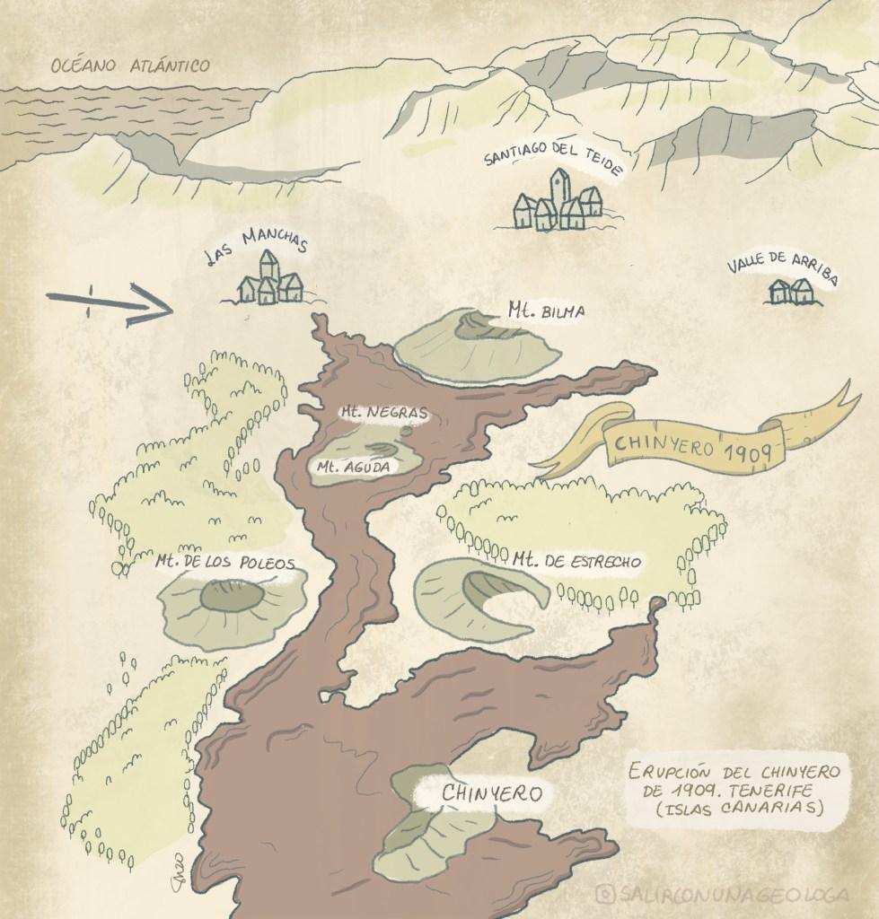 ¿Cuál fue la última erupción en la isla de Tenerife?El día 18 de Noviembre de 1909, el día que el Chinyero apareció en el mapa. Mapa de la colada.