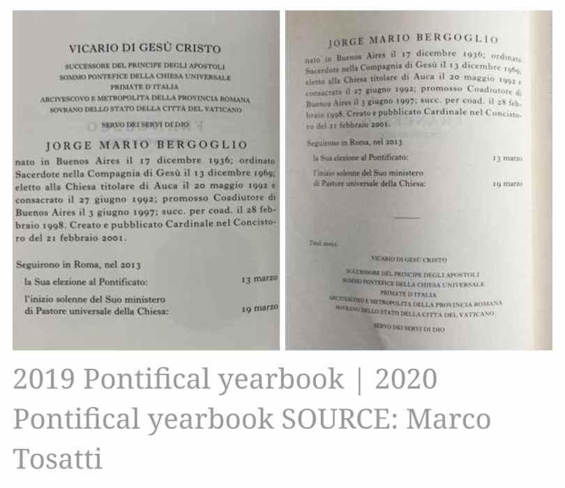 Comparativo: Anuario Pontificio 2019 vs. Anuario Pontificio 2020.