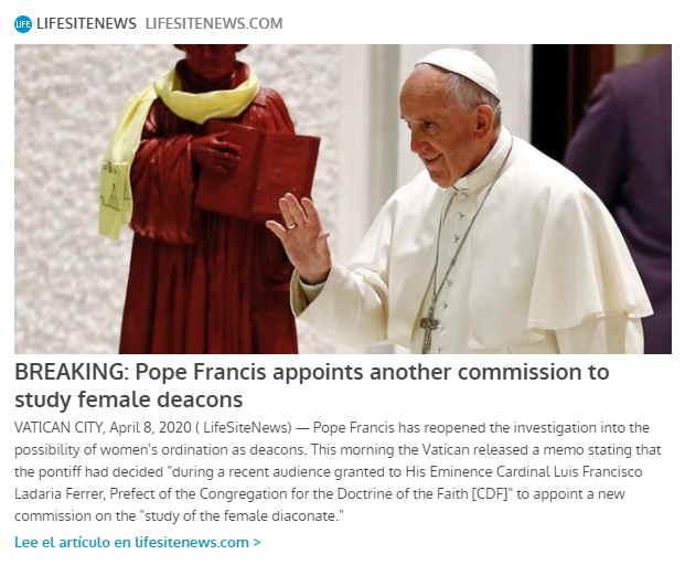 Francisco nombra nueva comisión para estudio de diaconisas LifeSiteNews
