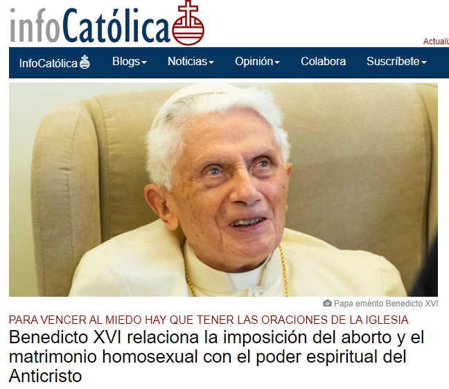 Benedicto XVI nuevo libro citado por Infocatólica