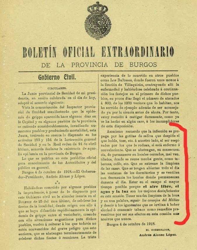 Pandemia hace 100 años Burgos