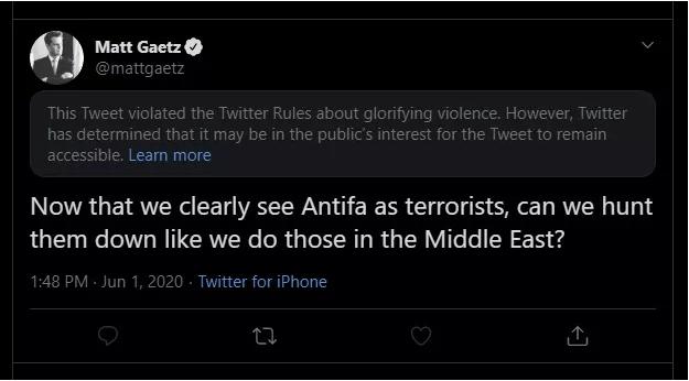 Matt Gaetz tweet