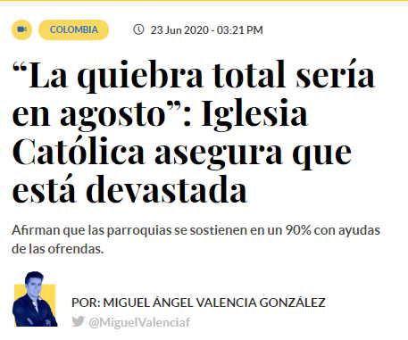Quiebra económica de la Iglesia Colombiana Prensa