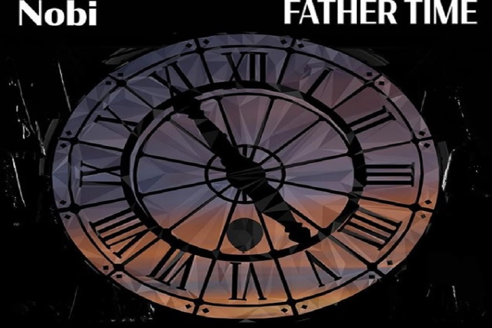 Cover to Nobi's Father Time single. Old style clock face on black background with white letters.