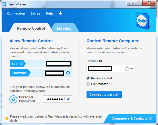 TeamViewer on Windows: Elevate session to have